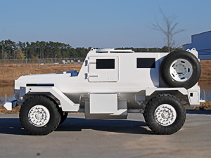 Armoured blast and ballistic protected vehicle - ready for blast testing
