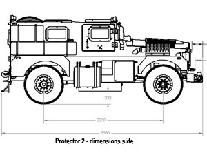 Armoured blast and ballistic protected vehicle - side dimensions