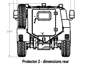 Armoured blast and ballistic protected vehicle - rear dimensions